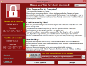 Screenshot of Wannacry Ransomware